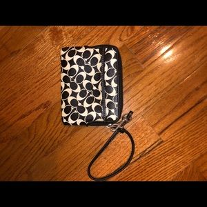 Black and White coach wristlet